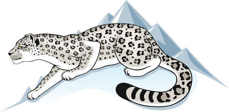 snow leopard on a background of mountain peaks