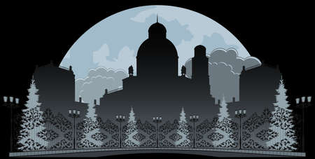 Palace of the winter night. Silhouette with decorative elements.