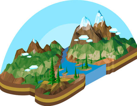 Vector image of a mountain landscape in isometry using geometric polygons Ilustrace