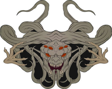 Vector image of a monster, a demon. Design element for tattoo printing on a T-shirt
