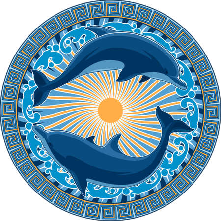Vector image. Dolphins on the background of ancient Greek ornament and design elements on a marine theme.