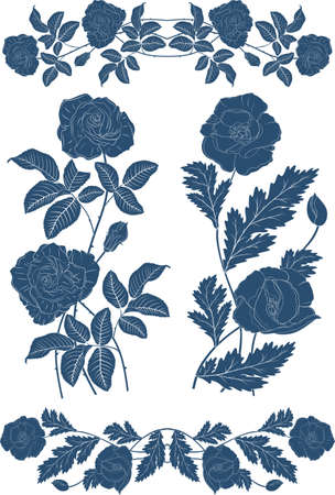 Vector image of plants, silhouettes, flowers. Decorative elements from roses and poppies.