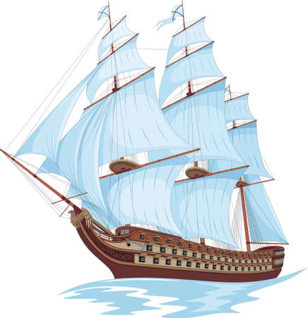Vector image of an old sailing ship