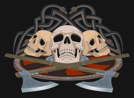 Vector composition of skulls and weapons on a theme of the Middle Ages for printing and design of tattoos, T-shirts.