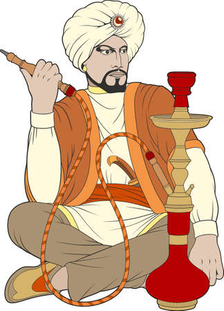 Vector illustration. A man in ancient Asian clothes is smoking a hookah.
