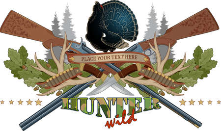 Vector composition on the theme of hunting. Ancient hunting weapons and trophies on the background of nature