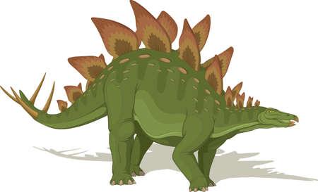 Vector illustration, ancient animal, dinosaur, stegosaurus on a white background. Ilustracja