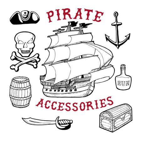 Pirate Accessories. Handmade ship, roger, barrel, sword, hat, chest, skull, rum bottle, bones retro style. Design fashion apparel textured print. T shirt graphic vintage grunge vector illustration badge label logo template.
