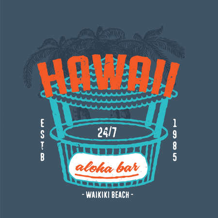 t bar: HAWAII ALOHA BAR. Handmade Palms trees retro style. Design fashion apparel textured print. T shirt graphic vintage grunge vector illustration badge label logo template. Illustration
