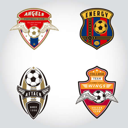 SET OF SOCCER BADGE LOGO . Handmade football ball. Sport Team identity vector illustrations isolated on white background. Collection themed T shirt graphics. Design templates fashion apparel print.