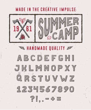 SUMMER CAMP FONT crafted retro vintage typeface design. Original hand made lettering type alphabet on white light background. Authentic handwritten set of characters, vector letters. Иллюстрация