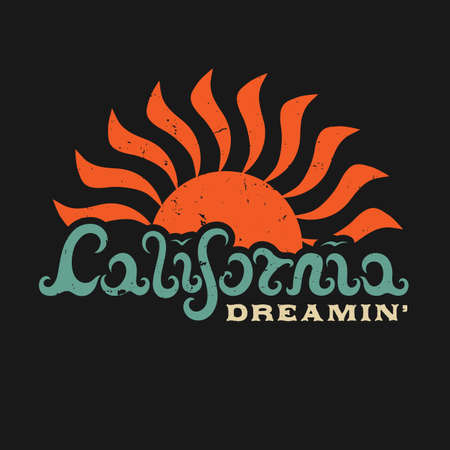 CALIFORNIA DREAMIN . Hand lettered California in the form of waves. Design fashion apparel textured print. T shirt graphic vintage grunge vector illustration badge label logo template.