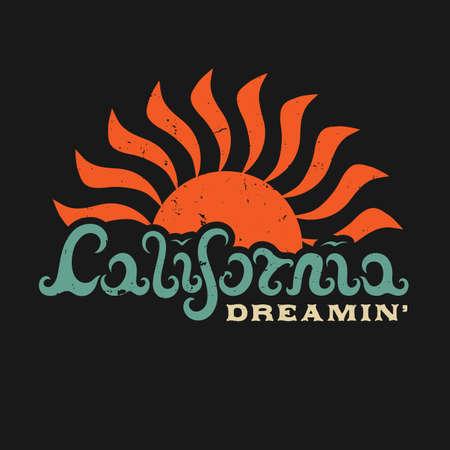 California Dreamin Hand Met Letters Californië In De Vorm Van