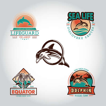 Set vintage badge with dolphin drawn by hand. Vector illustration, template graphic design fashion apparel print logos emblems labels for beach bars, restaurants, cafe, resort, rescue and sport team
