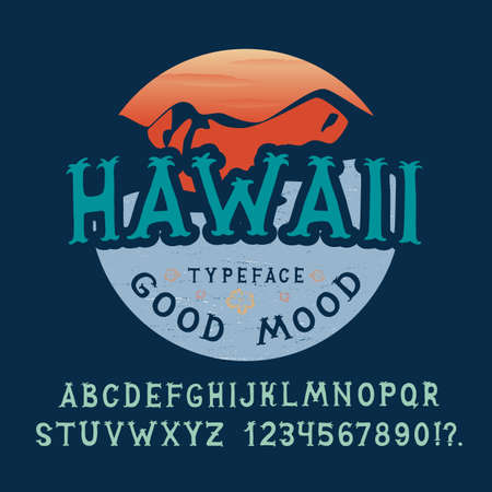 beach sunset: FONT HAWAII. Hand crafted retro vintage typeface design. Original handmade lettering type alphabet on navy background. Authentic handwritten vector letters. Custom handwritten alphabet, the serif is reminiscent of palm trees.