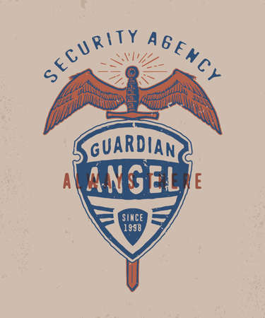 SECURITY AGENCY GUARDING ANGEL . Handmade winged sword and shield. Design fashion apparel print. T shirt graphic vintage grunge vector illustration crests and heraldry badge label logo template.