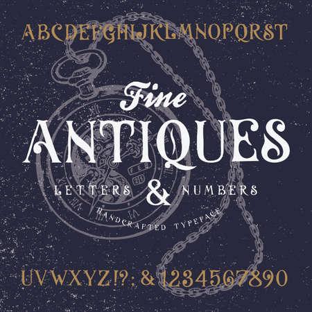 高級骨董品。古いレトロなビンテージ書体を手作り。手作りオリジナル テクスチャ海軍背景に文字型アルファベットです。本格的な手書きフォント、ベクトル文字と数字。