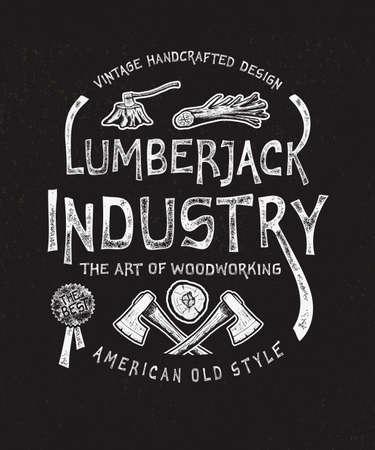 Lumberjack Industry. Hand drawn Illustration