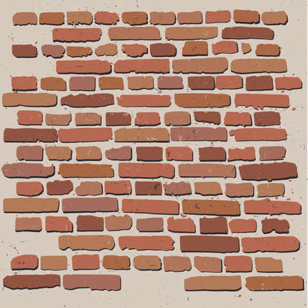 Brick Wall. Craft retro vintage design. Pop modern vector illustration. Drawn in graphic style. Иллюстрация