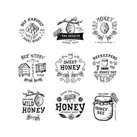 Set of badge Honey. Hand drawn bee, flower, hive, glass jar. Label icon template. Design fashion apparel print. Graphic vintage illustration.