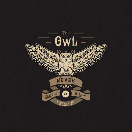 The OWL. Handmade owl and ribbon. Apparel print. T shirt graphic vintage grunge vector illustration badge label logo template. Hand crafted drawn design. Painted lettering type on white background. Stock Illustratie