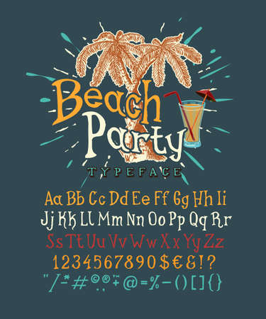 Font Beach Party. Handmade type. NAVY background. Isolated doodle vector letters and numbers. Serif alphabet. Pop modern display typeface. Drawn graphic design of Latin characters, digit, punctuation.