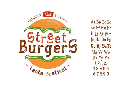 Font Street Burger. Vintage typeface design. Fashion type. Flare serif. Textured alphabet. Modern display vector letters. Drawn in graphic style. Set of Latin characters, numbers, punctuation.