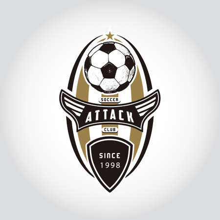 SOCCER BADGE LOGO . Handmade football ball. Sport Team identity vector illustrations isolated on white background. Collection themed T shirt graphics. Design templates fashion apparel print.