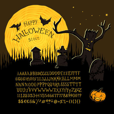 Happy Halloween font. Hand crafted retro vintage typeface design. Original handmade textured lettering type alphabet on navy background. Authentic handwritten font, vector graphics letters.