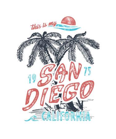 This is my San Diego. Handmade palms trees retro style. Design fashion apparel textured print. T shirt graphic vintage grunge vector illustration. Element emblem badge label logo stamp.