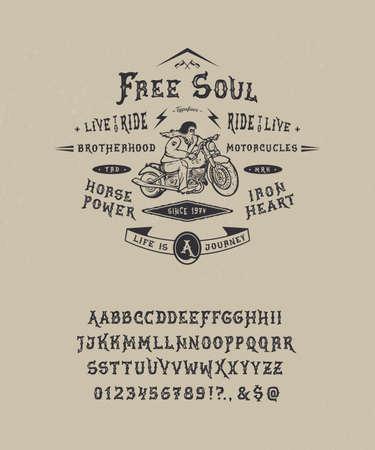 Font Free Soul. Hand crafted retro vintage typeface design. Handmade  lettering. Authentic handwritten graphic alphabet. Vector illustration old badge label logo template. Ilustração