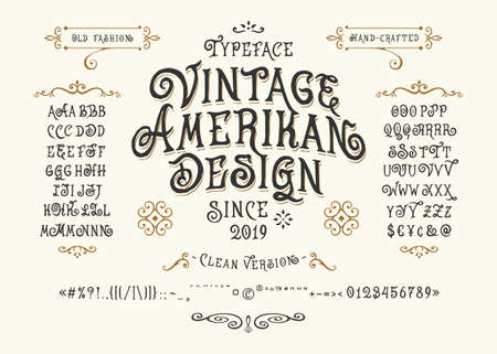 Carattere Vintage American Design. Carattere tipografico retrò realizzato a mano. Accenti di punteggiatura di lettere di tipo fatto a mano. Alfabeto grafico originale scritto a mano. Illustrazione vettoriale vecchio modello di logo etichetta distintivo