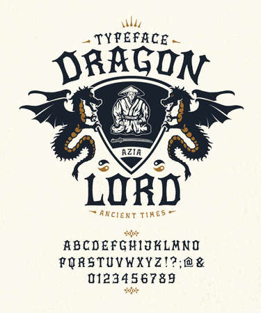 Font Dragon Slayer. Craft retro vintage typeface design. Fashion graphic display alphabet. Pop modern vector letters. Latin characters numbers. Vector illustration old badge label tee template.
