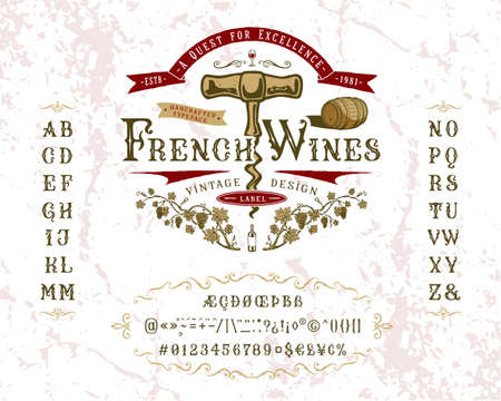 Font French Wines. Vintage letters and numbers Çizim