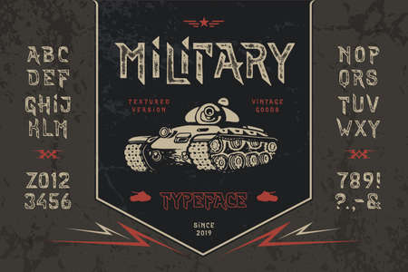 Font Military. Pop vintage art letters, numbers
