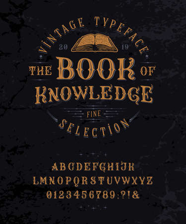 Font Book of Knowledge. Vintage letters, numbers