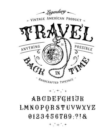 Font Travel Back in Time. Vintage letters, numbers