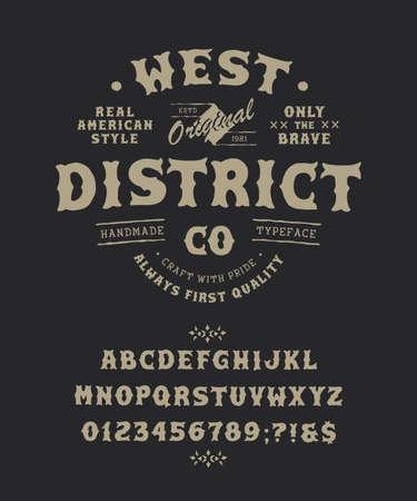 Font West District. Pop vintage letters, numbers Çizim