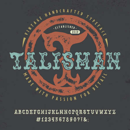 Font Talisman. Hand crafted retro typeface design. Çizim