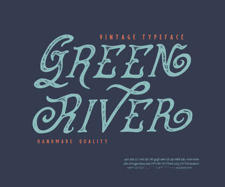 Display hand crafted vintage Font Green River. Ilustração