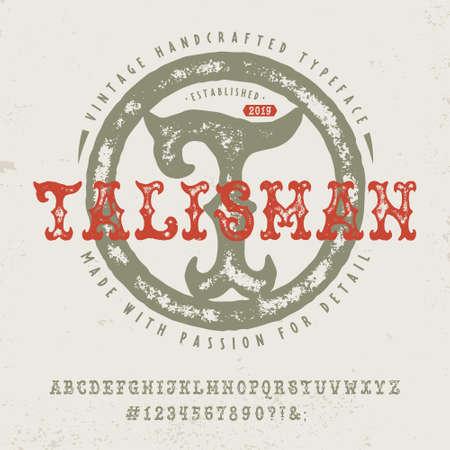 Font Talisman. Hand crafted retro typeface design. Illustration