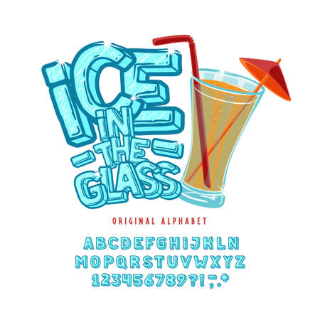 Display hand crafted vintage Font Ice in the Glass.