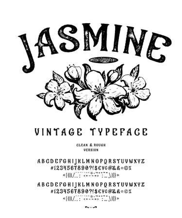 Font Jasmine. Vintage typeface design.