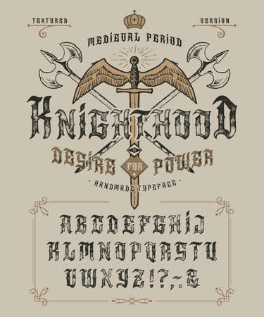 Font Knighthood. Craft retro vintage type design
