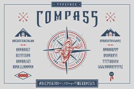 Font Compass Craft retro vintage typeface design
