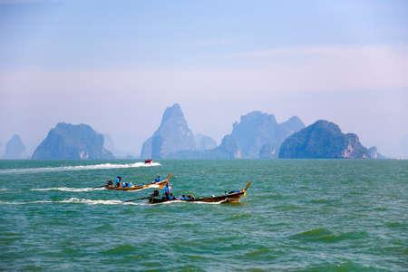 Phuket, Thailand, January 30, 2017: Boats floating on the Andaman Sea to the islands.