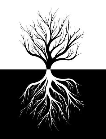Silhouette of a tree and its roots. Black and white illustration.