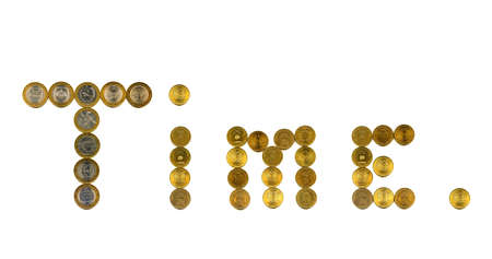 multiplicar: The inscription Time is laid out with coins on a white background. Russian jubilee coins.