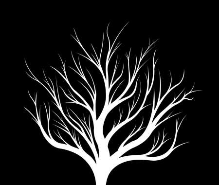 White silhouette of a tree on a black background. Illustration. Stock Photo
