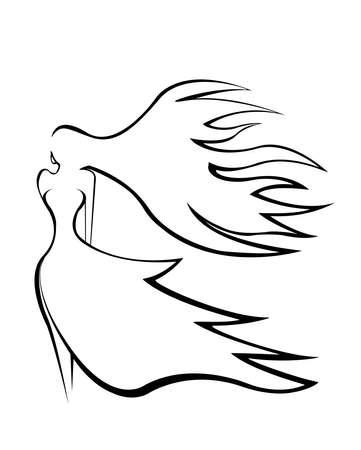 Ilustración. Silueta abstracta de una chica elegante con pelo volando en el viento. Foto de archivo - 79060950